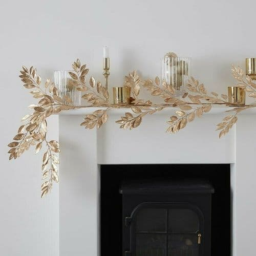 GOLD FOLIAGE CHRISTMAS GARLAND - Luxury Mantelpiece Decoration Table Centrepiece